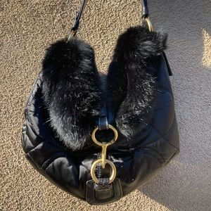 Coach bag with genuine rabbit fur
